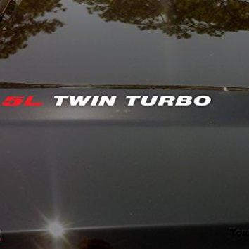 3.5L [Red] Twin Turbo [White] Hood Vinyl Decal Emblem Ford EcoBoost