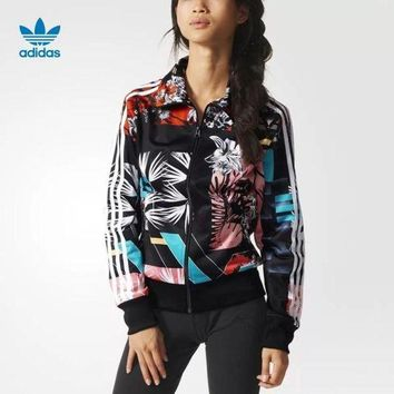 Adidas Women's Print Sport Long Sleeve Cardigan Jacket Coat Windbreaker
