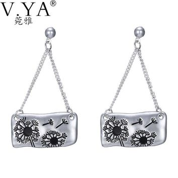 V.Ya Stylish Nature Geometric Drop Dangle Earrings for Women Silver Plated Dandelions Pattern Pendants Jewelry Ear Accessories
