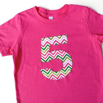 Chevron Pink and Green Color Stripes Birthday Shirt - fuchsia hot pink preppy whale party