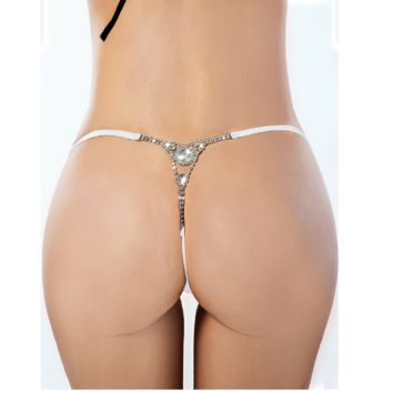 Diamond Back Thong Panties Rhinestone G-String Satin Red Black or White One Size