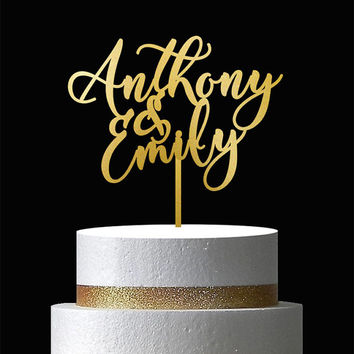 Wedding Cake Topper - Custom cake topper - Gold cake topper