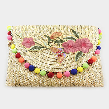 Beige Multi-Color Embroidered Flower Pom Pom Straw clutch bag with chain strap