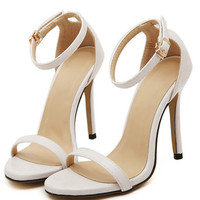 White Stiletto High Heel Ankle Strap Sandals -SheIn(Sheinside)