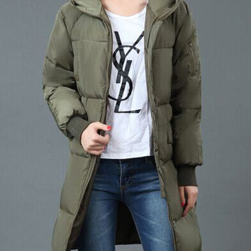 Army Green Hooded Quilted Design Long Coat