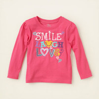 baby girl - graphic tees - smile laugh love graphic tee | Children's Clothing | Kids Clothes | The Children's Place
