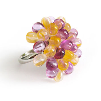 Yellow & Lilac Berry Cocktail Ring - Limited Edition Handmade Cocktail Ring, Radiant Orchid