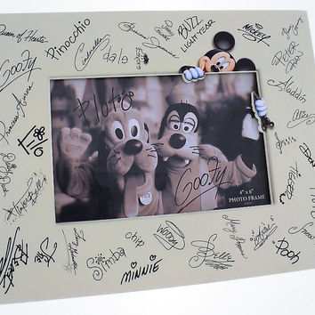 "Disney Parks Character Autographs Signatures Photo Frame 4""x6"" New With Box"