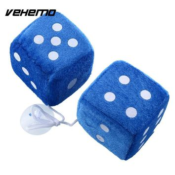 VEHEMO Car Styling Pair Multcolor Fuzzy Plush Dice Rear Mirror Hangers Vintage Car Auto Accessories Car Decoration