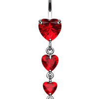 Brilliant Heart Cascade Belly Button Ring