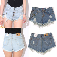 Rivet Studded Vintage Ripped Denim Shorts