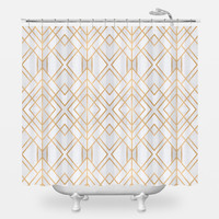 Golden Geo Shower Curtain