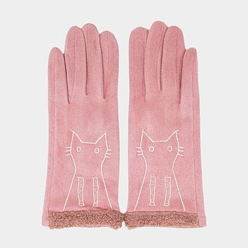 Embroidery Cat Detail Solid Smart Touch Gloves