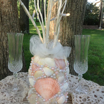 Peach Sea Shell Wedding Centerpiece- Nautical Wedding- Tropical Beach Centerpiece- Peach Pearls- Flameless Candle-Peach Wedding Decor