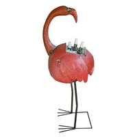 Recycled Iron Flamingo Cooler Planter