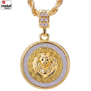 """Jewelry Kay style Men's 14k Gold Plated Iced Out Round Lion Face Pendant Rope Chain 24"""" HC 2048 G"""