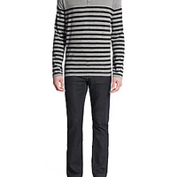 Vince - Wool & Linen Striped Slub Henley