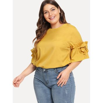 Womens Fluted Sleeve Frill Trim Top - Ladies Plus Sizes
