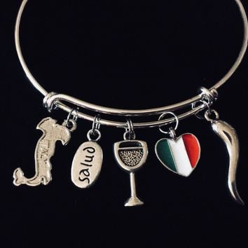 Italy Salud Flag Italian Horn Wine Glass Jewelry Adjustable Charm Bracelet Silver Expandable Wire Bangle One Size Fits All Gift