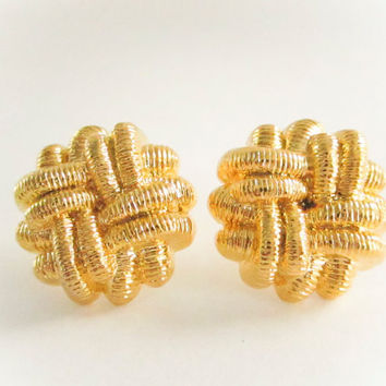 Vintage Knotted Rope Gold Earrings, Large Earrings, Studs or Clip on, Vintage Earrings, Statement Earrings, Valentines Day, Gold Earrings