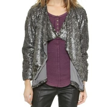 Free People Sequined Party Jacket