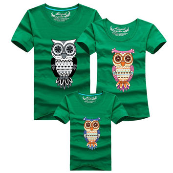 Family Shirt Owl Printed T Shirts Family Clothes Father Mother Daughter Son Outfits Family Matching Clothes NW