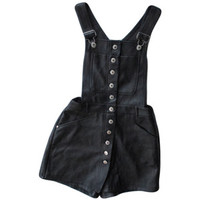 Black Pleather Overalls / 1990s Deadstock / Button up Romper / High Rise Skort / Shorts