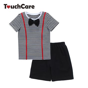 Baby Clothing Set Soft Cotton Casual Baby Clothes Short Sleeve Bow Tie Stripe Toddler Shirt Pocket Pants