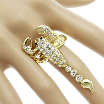 "2"" gold crystal scorpion stretch ring"