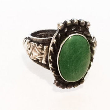 Green Turquoise Ring, Sterling Silver, Native American Vintage Jewelry, SUMMER SALE