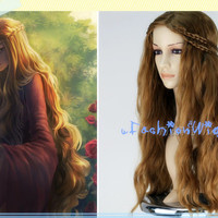 A Song of Ice and Fire Cersei Lannister Wig, Long Wavy Brown Cosplay Wig with 2 braid, Anime Cosplay Wig for Party UF082