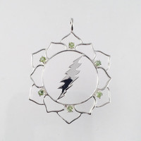 Grateful Dead, Lotus Flower & 13 Point Lightning Bolt Pendant with 6 Peridot Gems in 925 Sterling Silver, Sacred Geometry