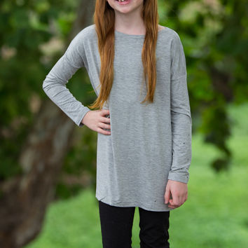 The Perfect Kids Piko Long Sleeve Piko-Heather Grey
