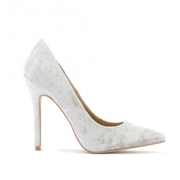Crushed Velvet Pumps Champagne Silver