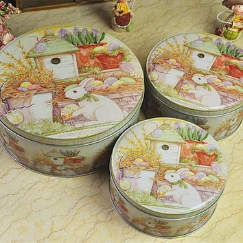Peter Rabbit Round Set Three Storage Tins Cookies Pastry Box Gift Boxes