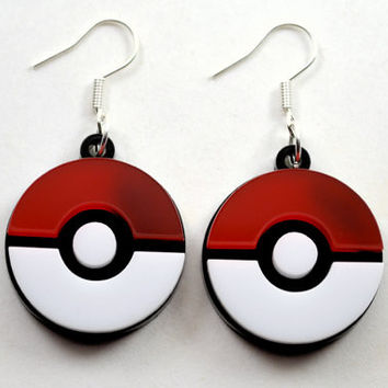 Pokemon Pokeball Laser Cut Acrylic Earrings