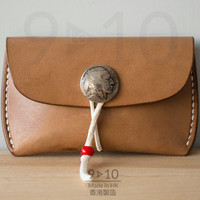 Leather Coin Case, Light Brown Dyed Leather, Small Leather Wallet, Handmade Wallet, Hand stitched leather wallet, Genuine Leather