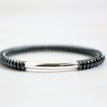 Minimalist Bohemian Jewelry Sterling Silver Tube Bead Hematite Bracelet Boho Stack Gift for Her