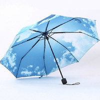 Fashion Folding Parasol Women Lady Blue Sky Sun Rain Umbrella