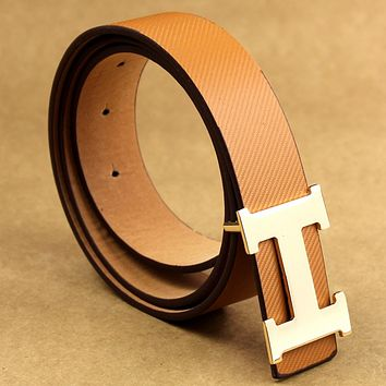 HERMES men and women models young wild fashion wild belt Coffee