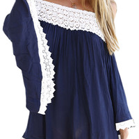 Navy Blue Lace-Paneled Off-the-Shoulder Romper