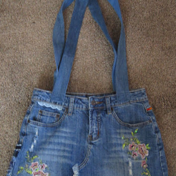 Denim Tote Bag from Re-purposed Upcycled Jeans Mother's Day Gift Idea