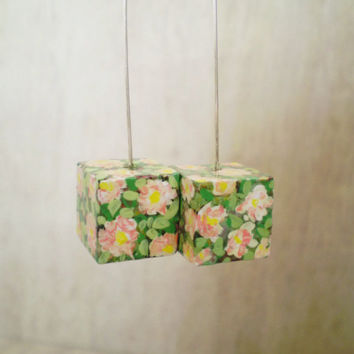 Floral Pastel Cube Dangle Earrings Hand Painted OOAK Jewelry Eco Friendly Ready to Ship / Σκουλαρίκια Κύβοι