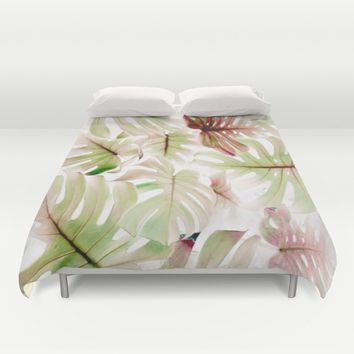 Monstera Pastel  Duvet Cover by aRTsKRATCHES