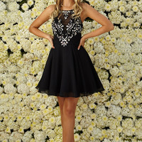 G2026 High Neck Jeweled Chiffon Cocktail Dress