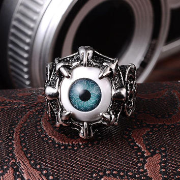 Men's Vintage Dragon Claw Evil Eye Skull Ring Stainless Steel Biker Ring Devil Eyeball Halloween Party Props Men Jewelry