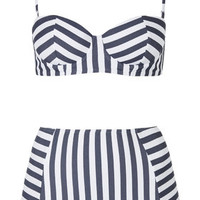 Striped Bikini Set - White