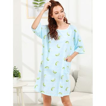 Fruit Print Striped Night Dress
