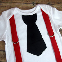 Black Tie With Red Suspenders Onesuit or Shirt by bkchicboutique