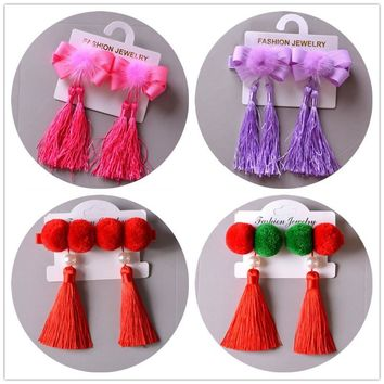 2pcs/lot Chinese celebration hairpin Ribbon Bow Hair clip princess for Girls hair accessory plush headwear CT-45
